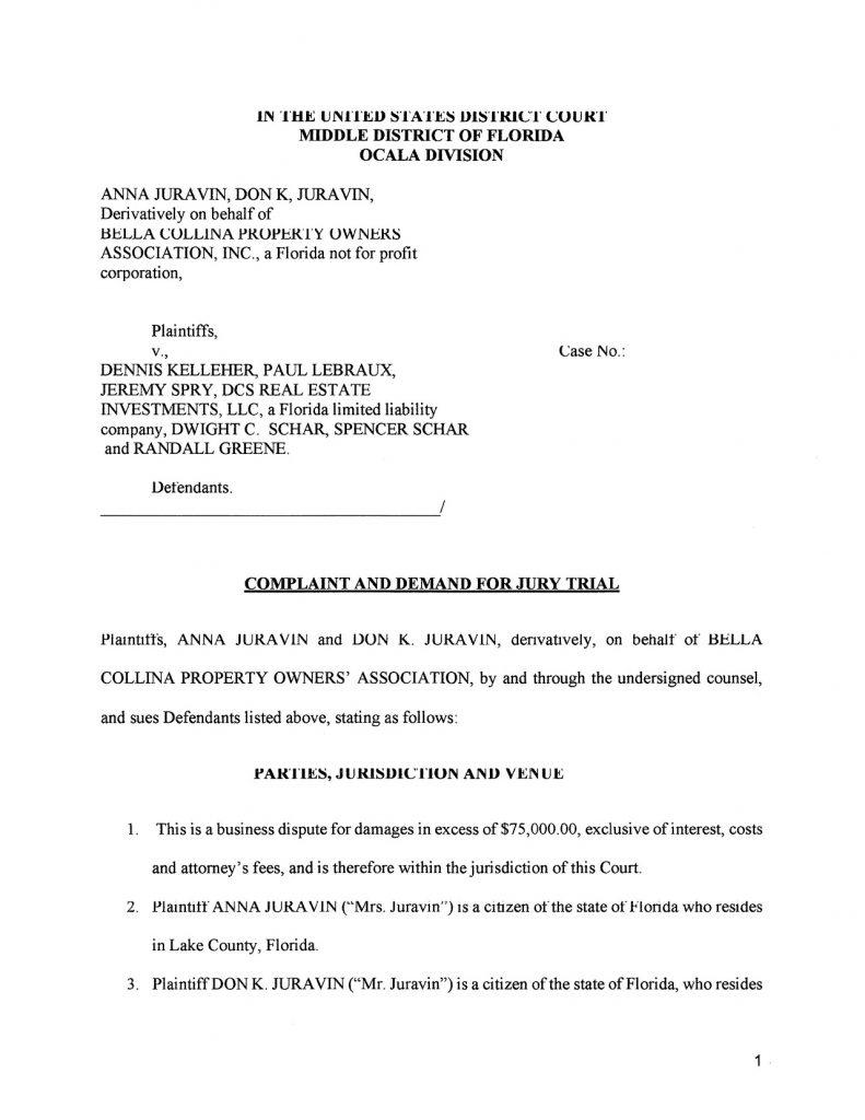 Derivative Action Lawsuit Against Bella Collina POA..........