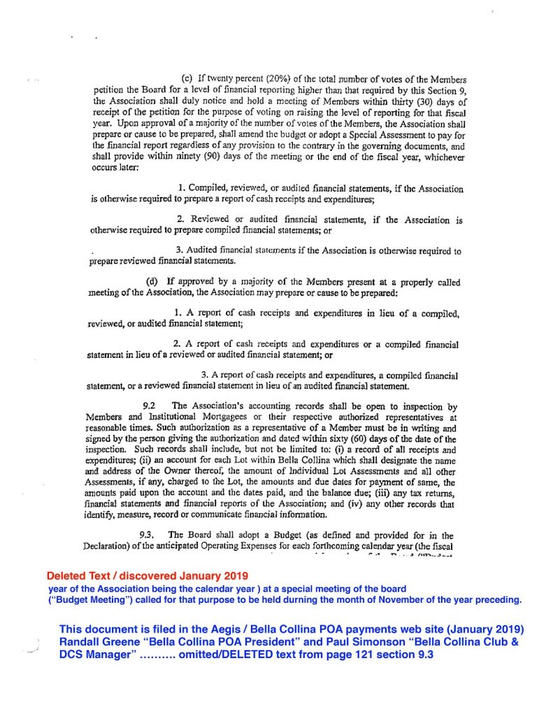 SECOND AMENDED AND RESTATED DECLARATION OF COVENANTS Bella Collina POA President, Paul Simonson, Bella Collina Club, DCS Manager, Bella Collina POA payments