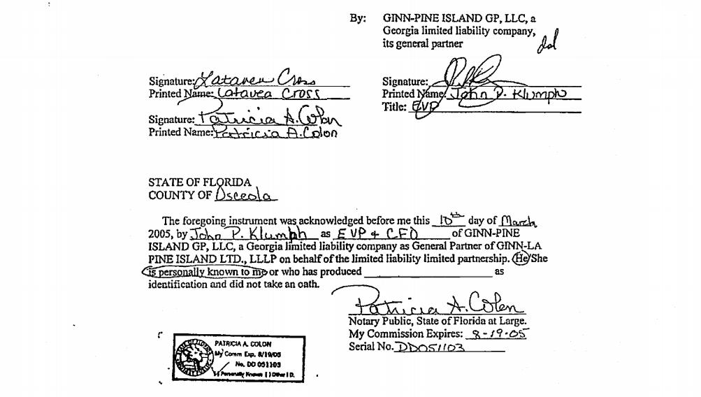 GINN-LA PINE ISLAND LTD., LLLP, aGeorgia limited liability limited partnership