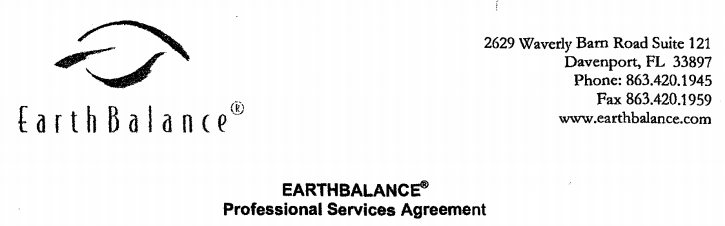 EARTHBALANCE Professional Services Agreement