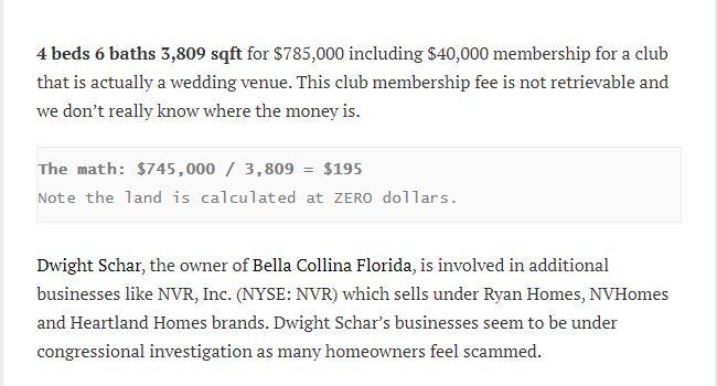 DWIGHT SCHAR'S BELLA COLLINA REAL-ESTATE IN TROUBLE, AGAIN? PRICE FALLS TO $195 SF