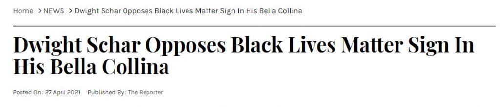 Dwight Schar Opposes Black Lives Matter