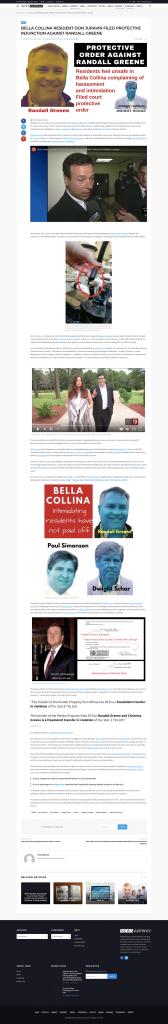 BELLA COLLINA RESIDENT DON JURAVIN FILED PROTECTIVE INJUNCTION AGAINST RANDALL GREENE