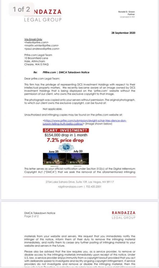 Marc Randazza fraudulent DMCA letter – attorney Ronald Green