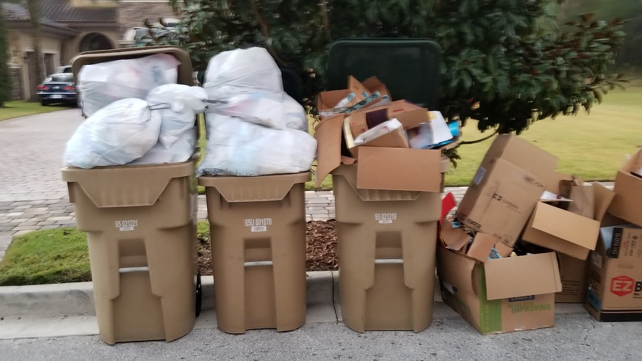 Trash bins are seen on Bella Collina streets almost all week long