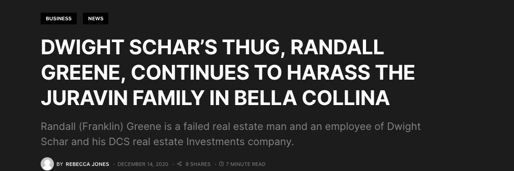 Dwight Schar's Thug, Randall Greene, Continues To Harass The Juravin Family in Bella Collina