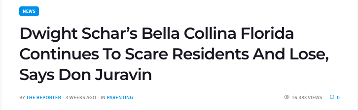 Dwight Schar Bella Collina Florida Continue To Scare Residents And Lose, Says Don Juravin