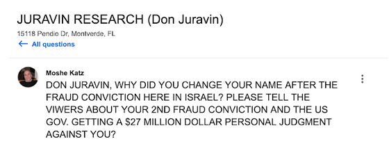 Fake review against Don Juravin